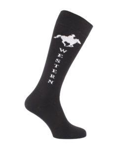 chaussettes d'équitation Western noires et blanches